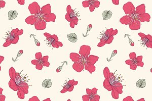Red Blossoms. Seamless Pattern