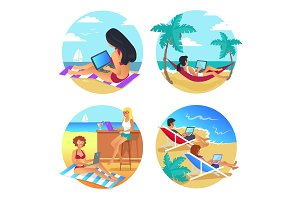 Business Summer Beach Set Vector Illustration