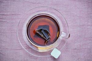 Aerial view of hot tea