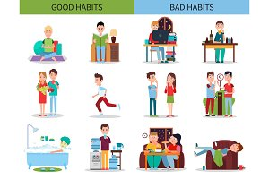 Good and Bad Habits Collection Vector Illustration