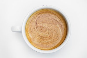 Aerial view of hot coffee