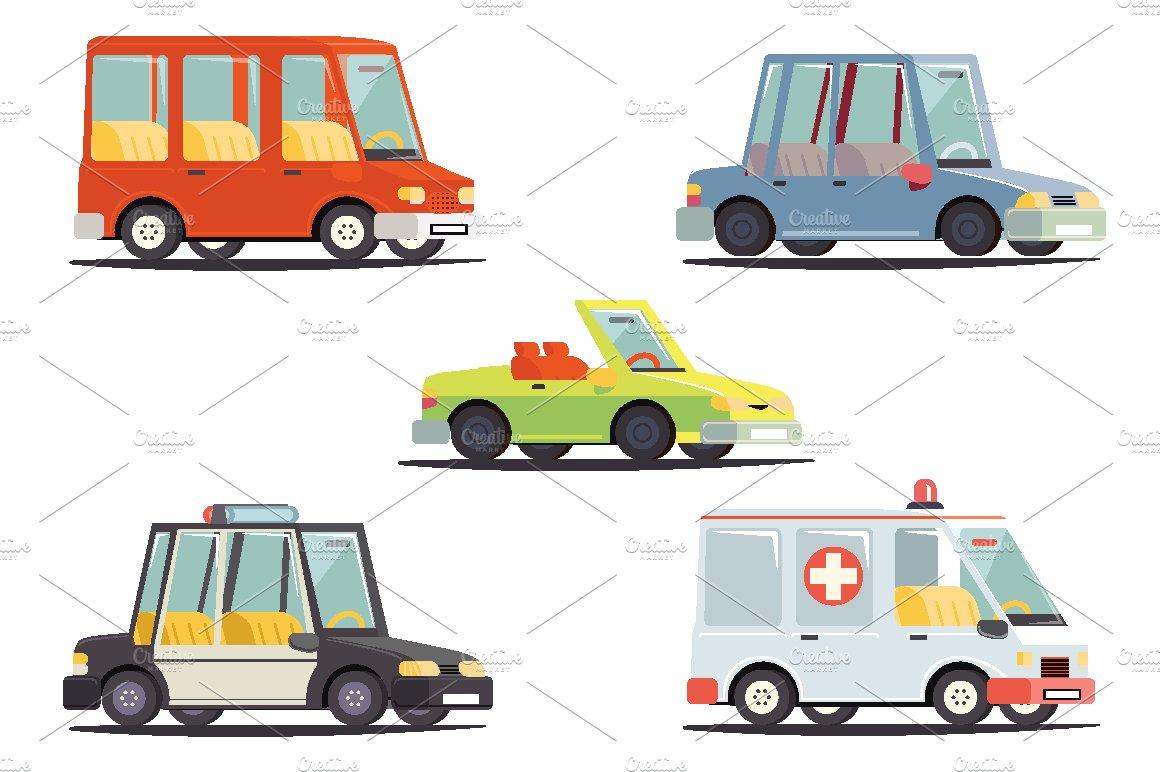 Cartoon Transport Car Vehicle Icons