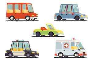 Cartoon Transport Car Vehicle Icons