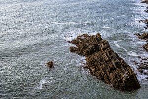 Scenic view of cliffs in Irish coast at sunset.