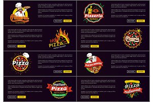 Pizzeria Italian Recipes Web Vector Illustration