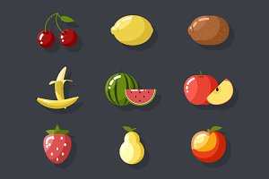 Fresh tasty fruit set
