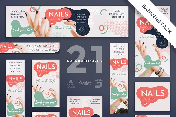 Banners Pack Nail Design Salon