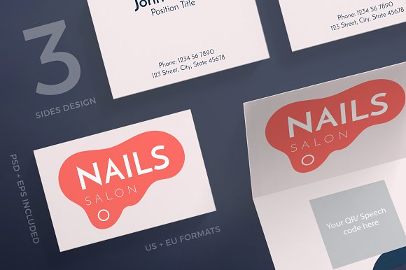 Business Cards Nail Design Salon