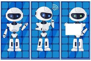Three Glossy White Ai Machines Vector Illustration