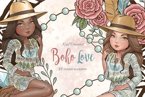 Boho Love Clipart Set