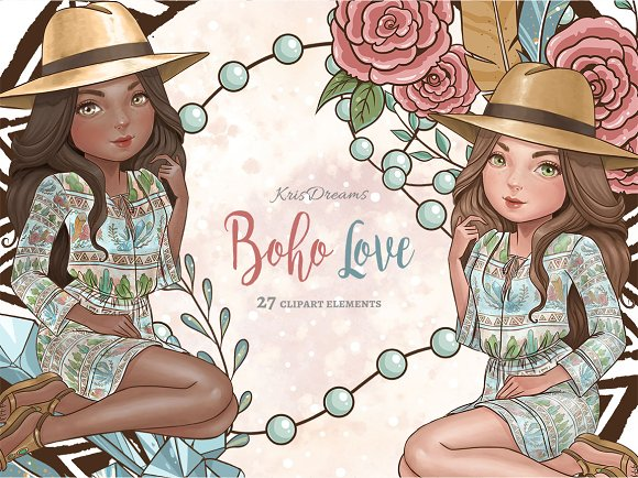 Boho Love Clipart Set