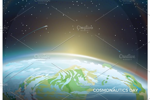 Cosmonautics Day Themed Poster With Earth Part