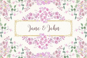 wedding watercolor clip art set