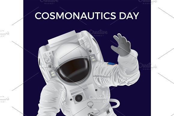 Cosmonautics Day Promotional Poster With Spaceman