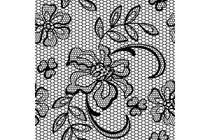 Old lace background ornamental flowers. Vector texture