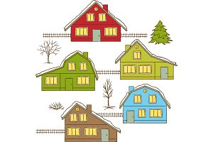 Hand drawing winter houses isolated.