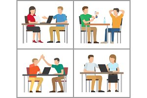 People Sitting by Table Poster Vector Illustration