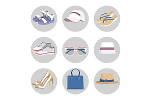 Summer Mode Circled Collection Vector Illustration