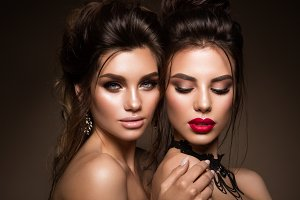 Beautiful girls with professional make up