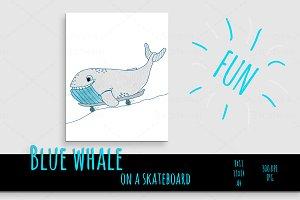 cute blue whale fish skateboard