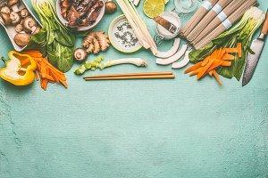Ingredients of asian food
