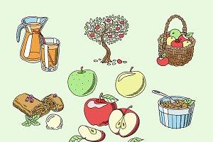 Apples vector healthy food applepie