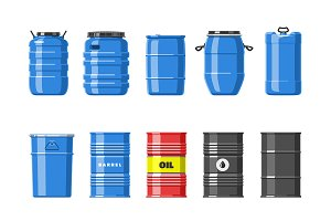 Barrel vector oil barrels with fuel
