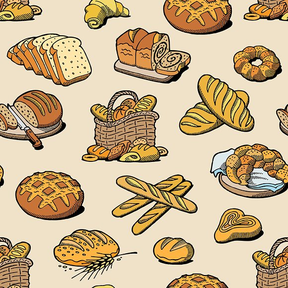 Bakery And Bread Vector Baking Bread