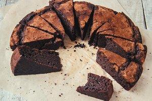 chocolate brownie, selective focus.