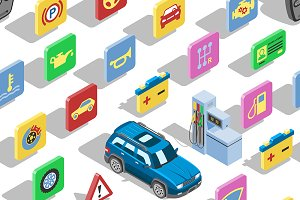 Car automotive icon vector isometric