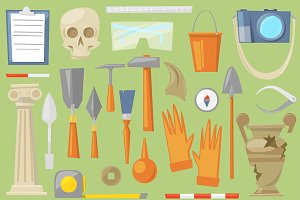 Archeology vector icons symbols