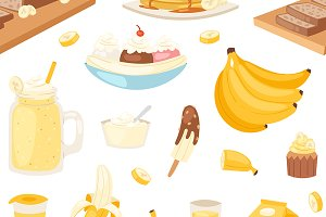 Banana set vector bananas products
