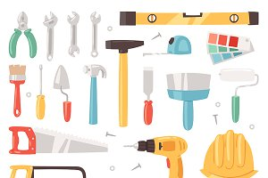 Construction equipment vector tools