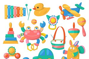 Kids toys vector cartoon games