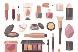 Cosmetic vector beauty makeup tools