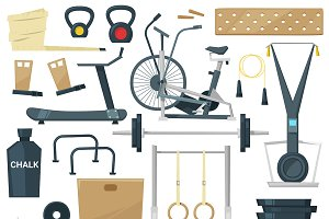 Fitness equipment vector gym machine