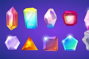 Crystal stone vector crystalline