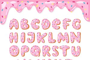 Alphabet donut vector kids ABS font