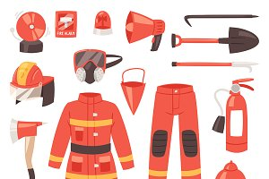 Firefighter department vector icons