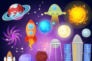 Space vector planets and spaceship