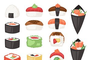 Japanese food vector sushi sashimi