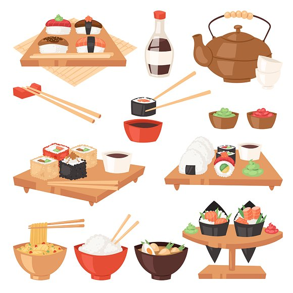 Japanese Food Vector Eat Sushi Table