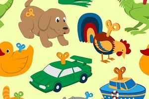 Kids vector toys clockwork keys