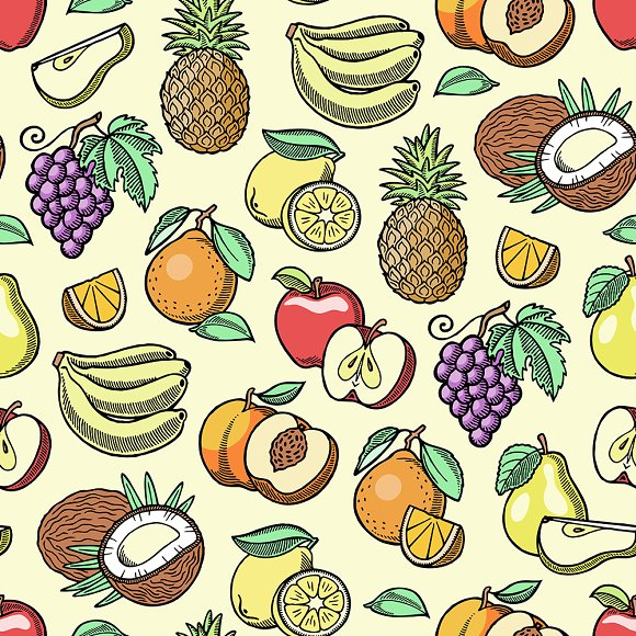 Fruits Vector Fruity Apple Banana