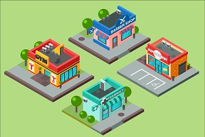 Isometric city buildings kiosk facad