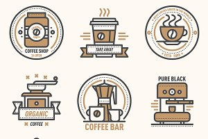 Coffee vector logo badge monogram