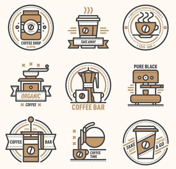 Coffee Vector Logo Badge Monogram