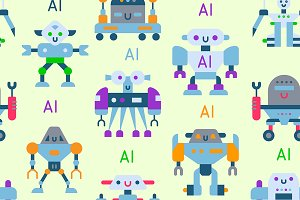 Robots vector cartoon robotic AI