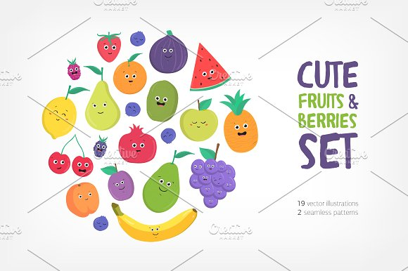 Cute Fruits And Berries With Smiles