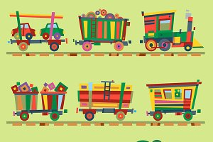 Kid vector train railroad baby